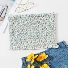 Bandeau Top mit ueberallem Blumen Muster und Ruesche