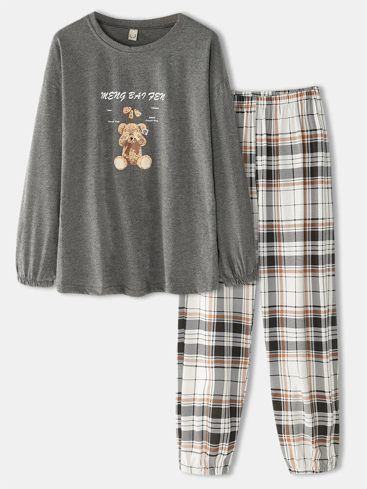 Women Cute Bear Print O-Neck Elastic Cuff Plaid Jogger Pants Loose Home Cotton Pajamas Set