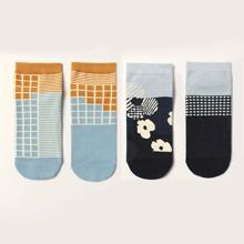 2 pares calcetines tobilleros de hombres con patron de cuadros y flor