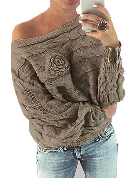 Yoins  Khaki Off Shoulder Dolman Sleeve Random Floral Sweater