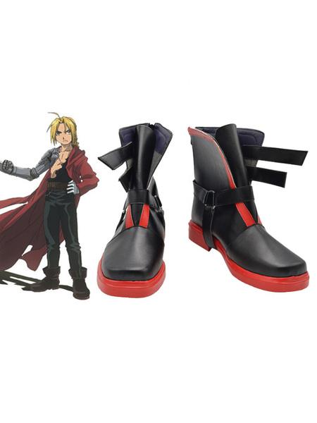 Milanoo Fullmetal Alchemist Edward Elric Cosplay Costume Black Boots Halloween
