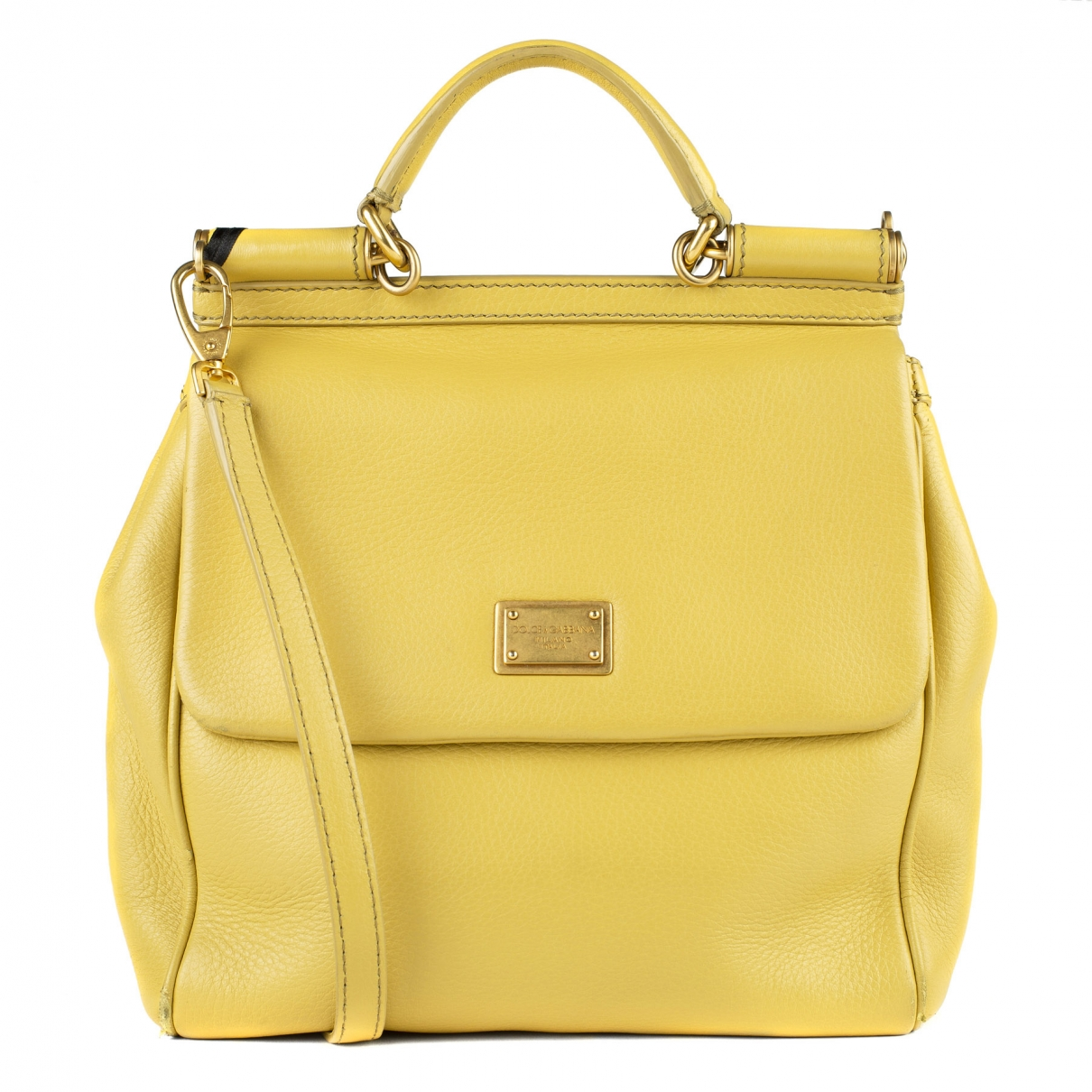 Dolce & Gabbana - Sac a main Sicily pour femme en cuir - jaune