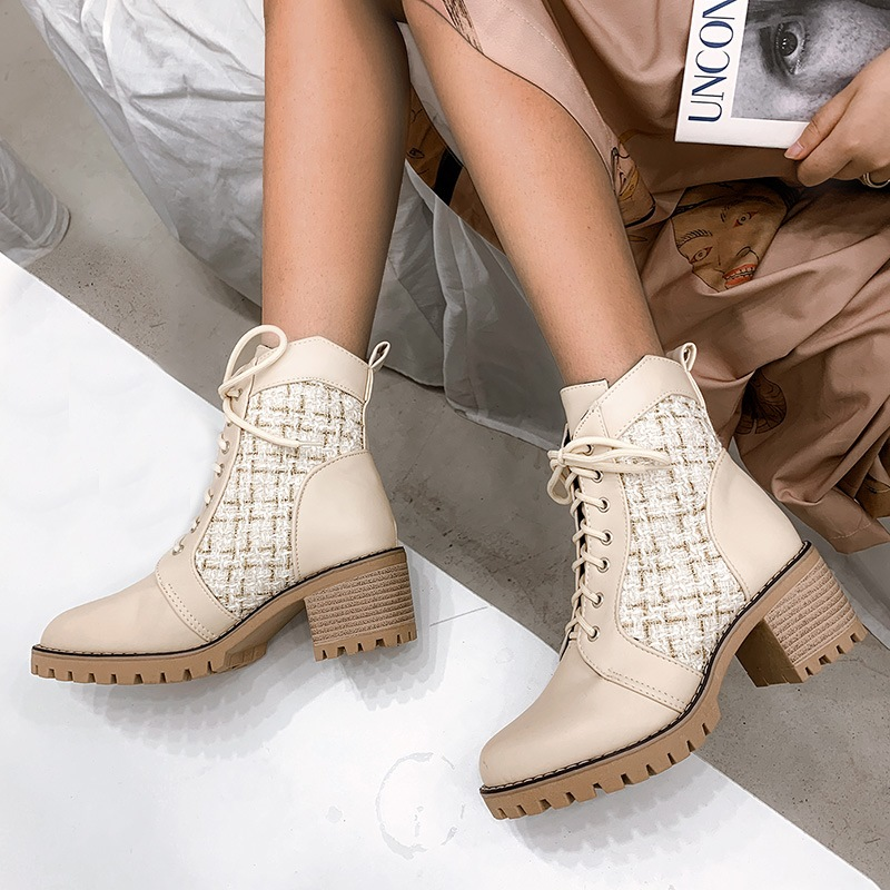 Ericdress Round Toe Patchwork Lace-Up Front Casual Boots