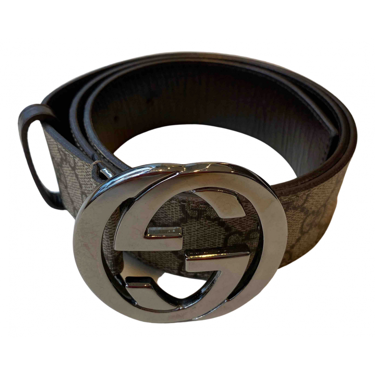 Gucci Interlocking Buckle Beige Cloth belt for Women 85 cm
