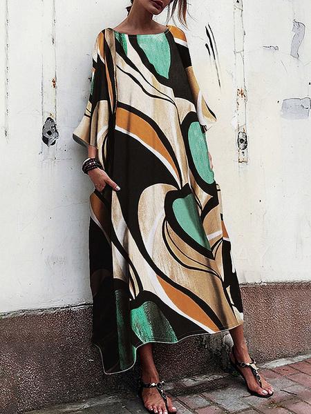 Milanoo Women\s Maxi Dresses Half Sleeves Black Printed Jewel Neck Oversized Polyester Long Dress