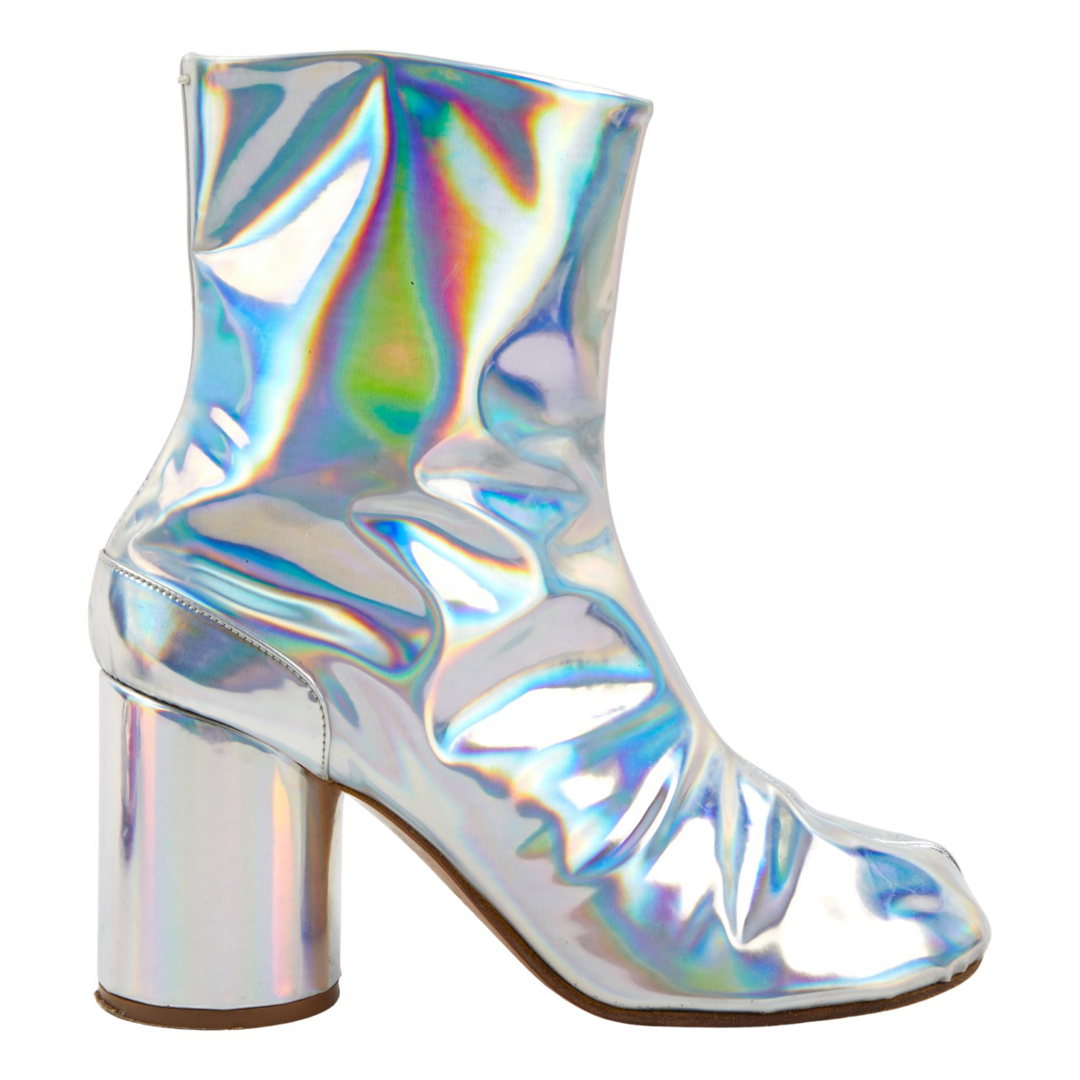 Maison Martin Margiela Tabi Silver Patent leather Ankle boots for Women 40 EU