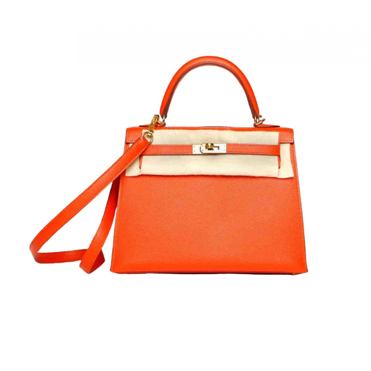 Hermes - Sac a main Kelly 25 pour femme en cuir - orange