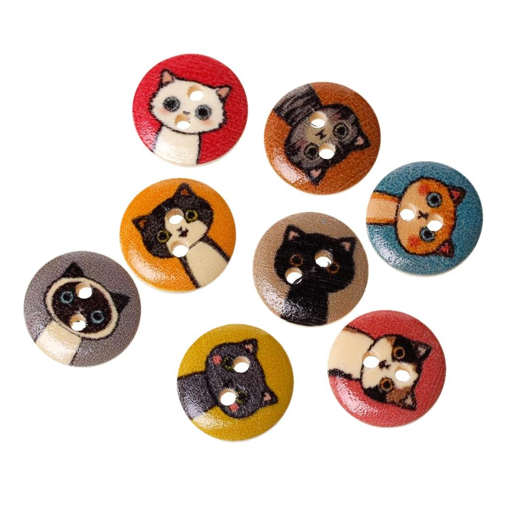 100Pcs 15MM Printed Cute Cat Pattern Wooden Button DIY Handmade Accessories