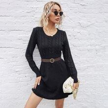 Strick Pulloverkleid mit rundem Kragen ohne Guertel