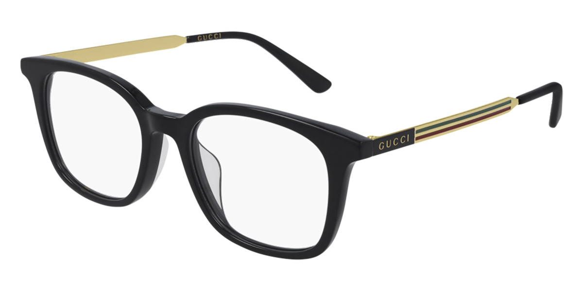 Gucci GG0831OA Asian Fit 001 Men's Glasses Black Size 52 - Free Lenses - HSA/FSA Insurance - Blue Light Block Available