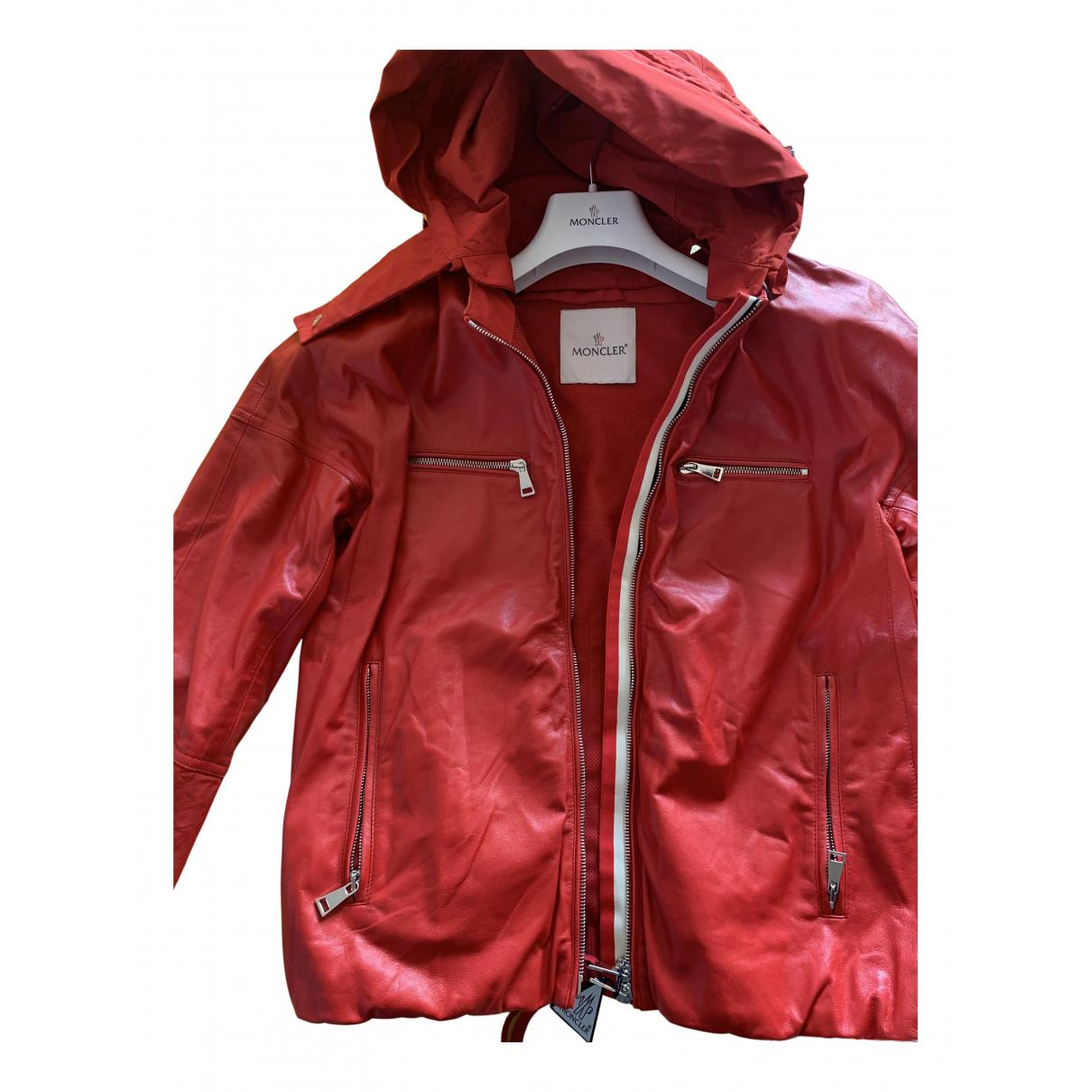 Moncler \N Lederjacke in  Rot Leder