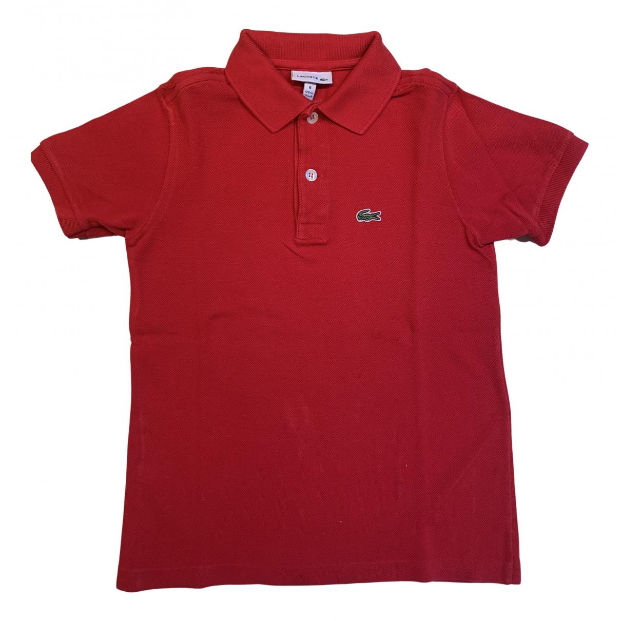 Lacoste - Top   pour enfant en coton - rouge