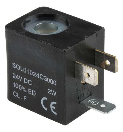 RS PRO 24V dc 2W Replacement Solenoid Coil, Compatible With 01V Series Valve
