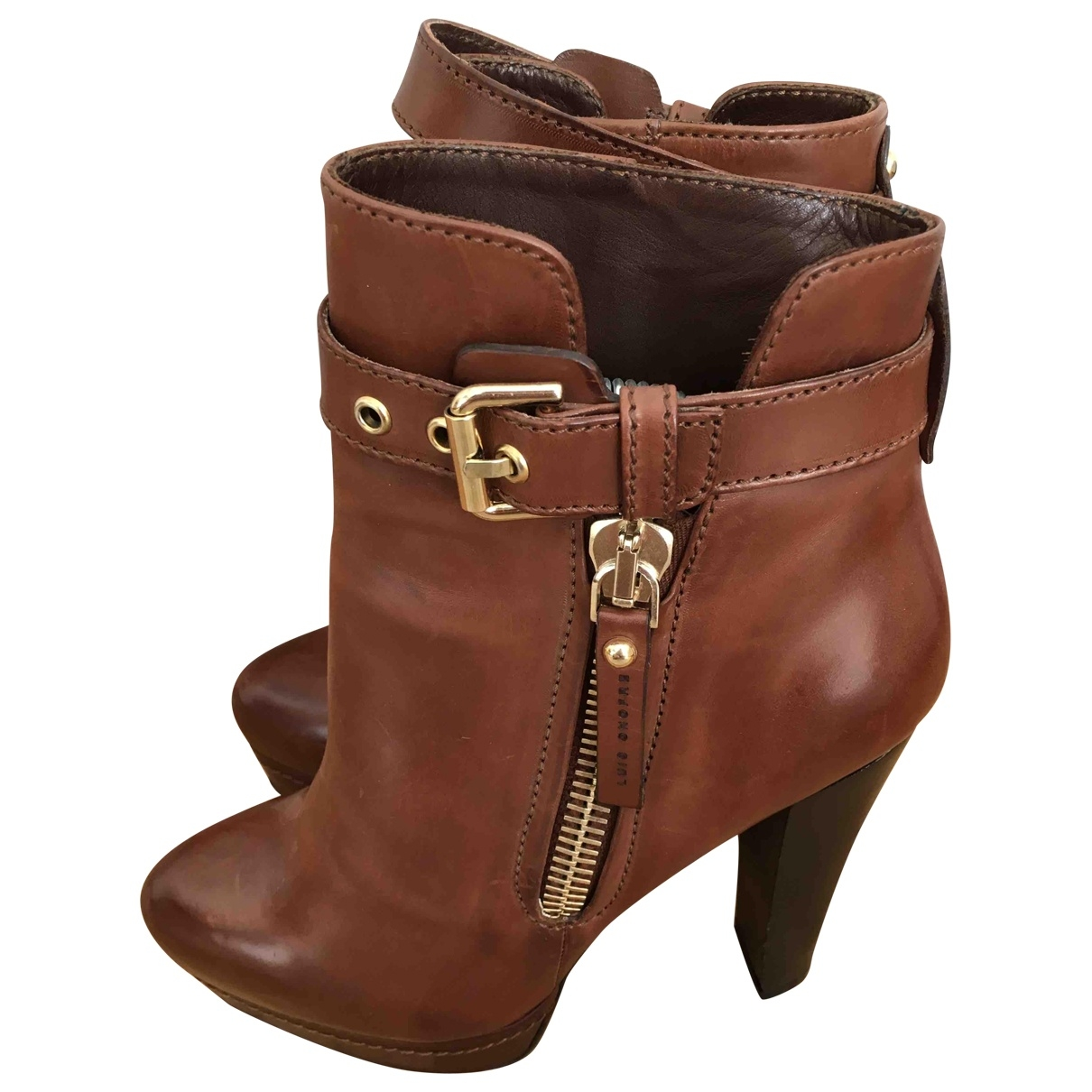 Luis Onofre \N Camel Leather Ankle boots for Women 36 EU