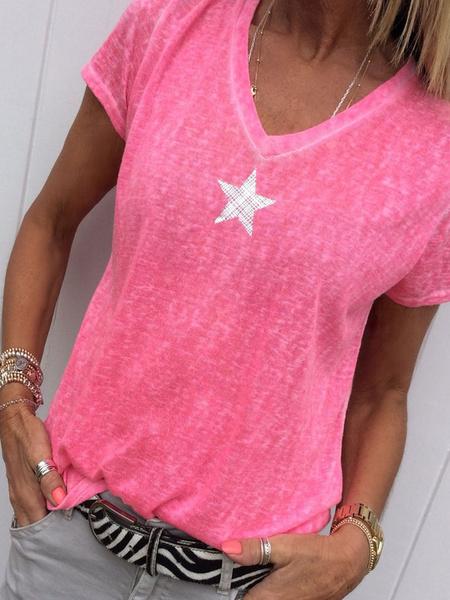 Milanoo Short Sleeves Tees Pink V-Neck Polyester Star Printed Tee Shirt For Women