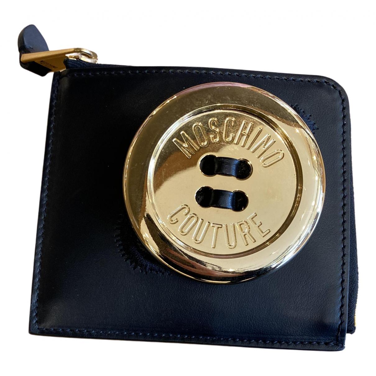 Moschino - Portefeuille   pour femme en cuir - noir