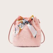 Bow Knot Decor Fluffy Bucket Bag