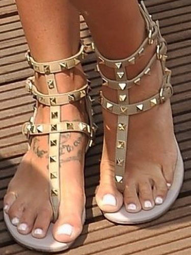 Milanoo Women's Gladiator Sandals Open Toe Flat PU Apricot Sandal Shoes