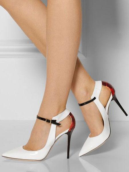 Milanoo Blanco Zapato de Tacon Alto de Mujer 2020 Zapatos de Vestido de Punta Puntiaguda Cut Out con Detalle de Hebilla