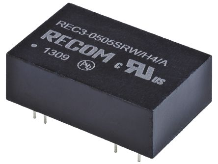 Recom REC3 3W Isolated DC-DC Converter Through Hole, Voltage in 4.5 → 9 V dc, Voltage out 5V dc Medical Approved