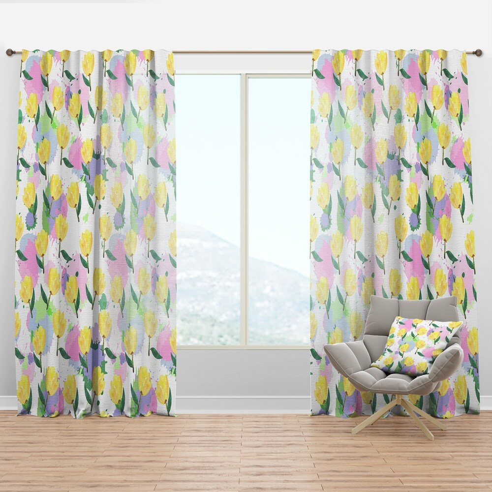 Designart 'Floral pattern with flowers' Mid-Century Modern Curtain Panel (50 in. wide x 84 in. high - 1 Panel)
