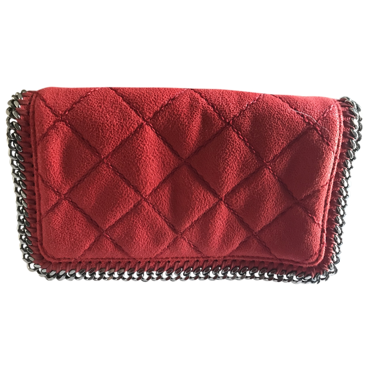 Stella Mccartney Falabella Clutch in  Rot Leinen