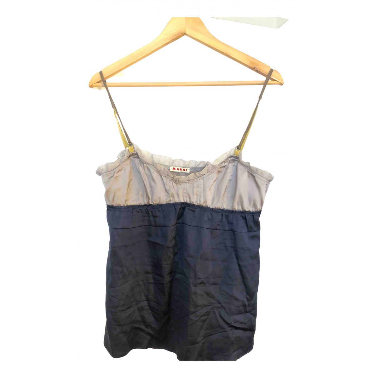 Marni - Top   pour femme en soie - bleu