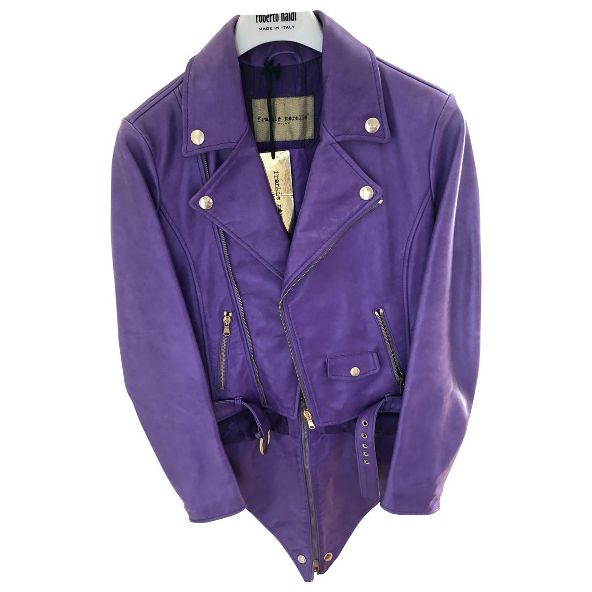 - Veste   pour femme en cuir - violet