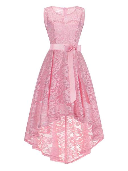 Milanoo Jewel vestidos de rosa de encaje sin mangas de cuello asimetrico Vestidos cordon retro