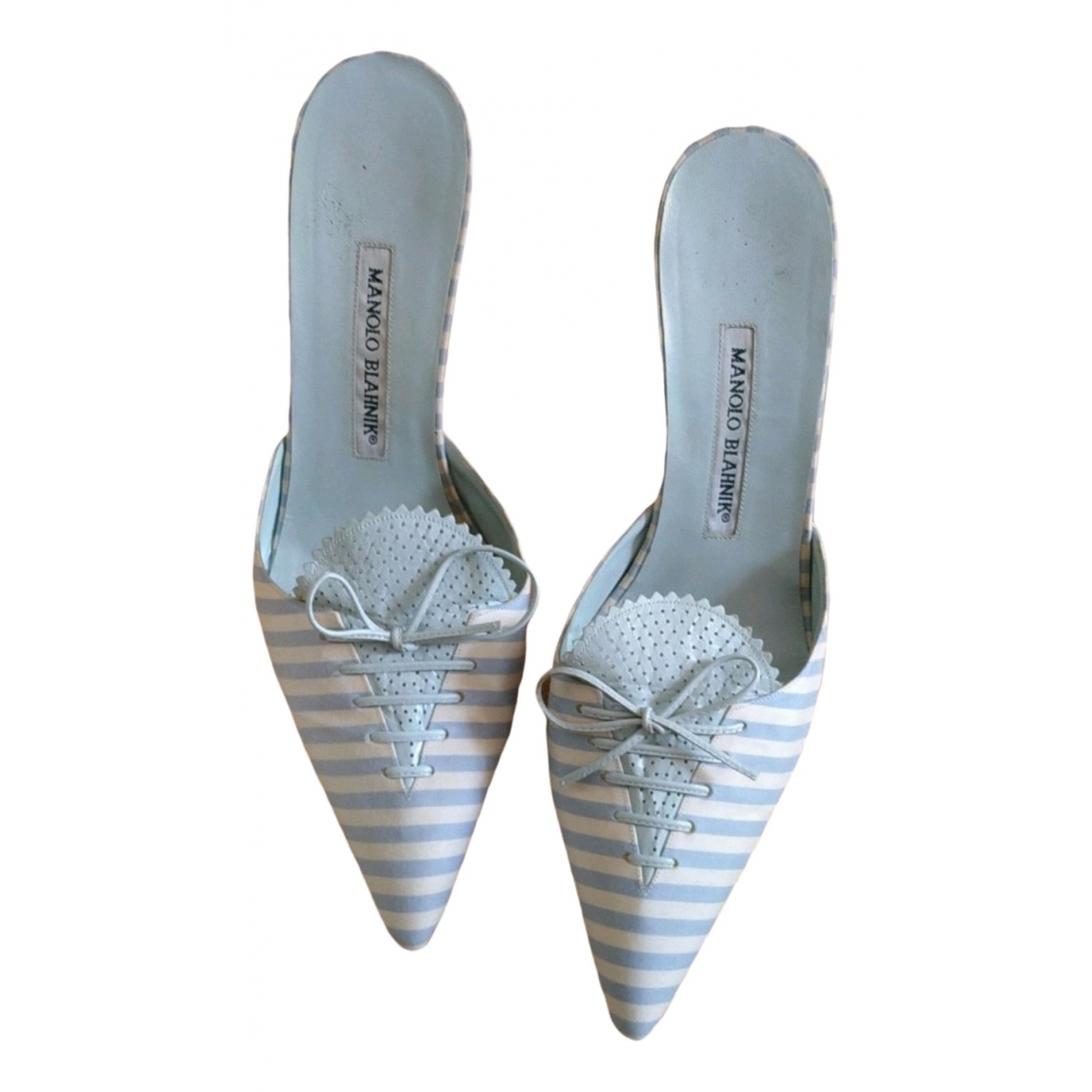 Manolo Blahnik - Escarpins   pour femme en toile - bleu