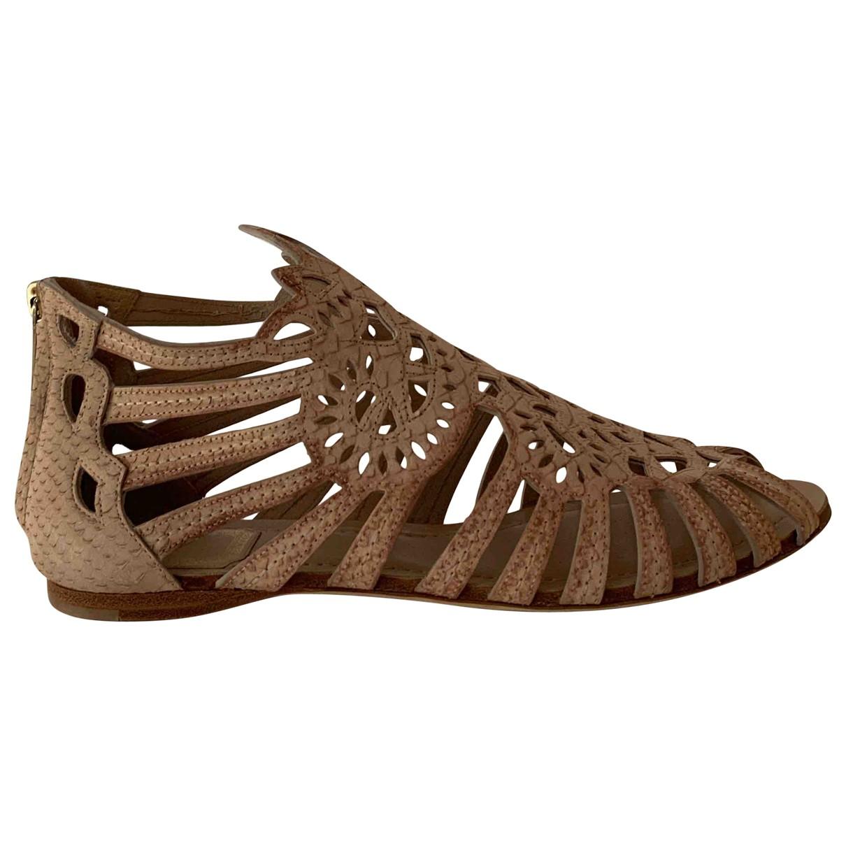 Dior \N Beige Leather Sandals for Women 38.5 EU