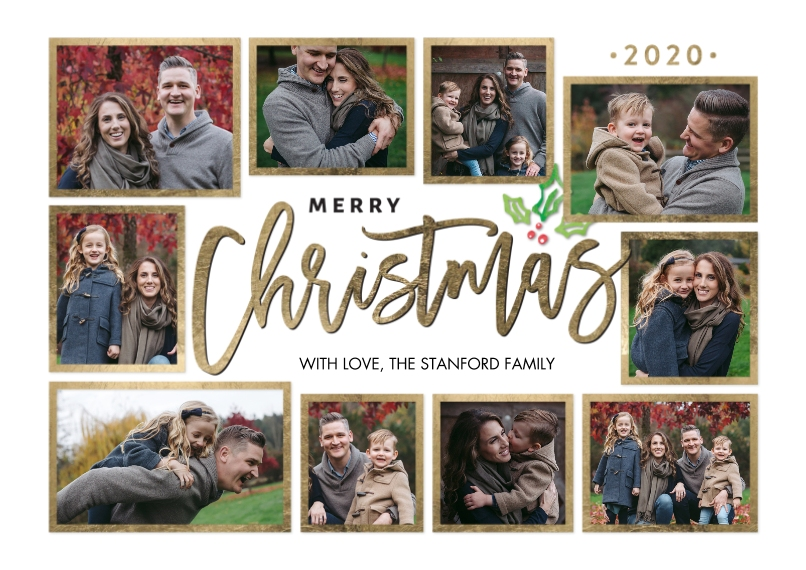 Christmas Photo Cards 5x7 Cards, Standard Cardstock 85lb, Card & Stationery -Christmas 2020 Frames Collage by Tumbalina