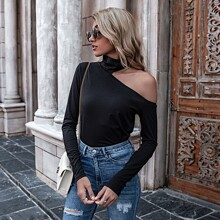 High Neck Cut Out Solid Tee