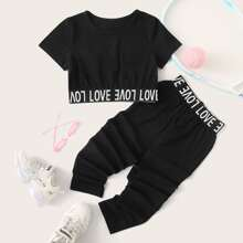 Toddler Girls Letter Tape Crop Tee & Pants