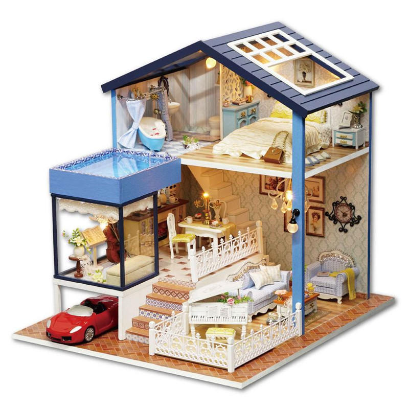 CuteRoom A-061-A Seattle DIY Dollhouse Miniature Model With Light Music Collection Gift Decor