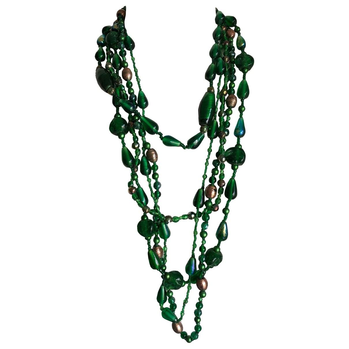 - Sautoir Motifs Ethniques pour femme en verre - vert