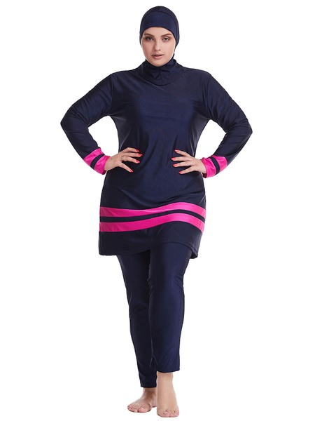 Milanoo Muslim Swimsuit Black Burkini Long Sleeve Nylon Beach Bathing Suit