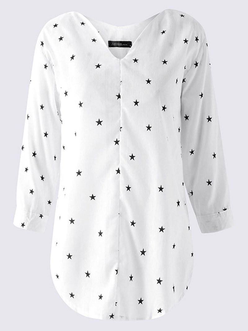Ericdress Loose Star Print V-Neck Long Sleeve Blouse