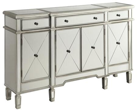 102595 60 Wine Cabinet with Mirror Panels  Tapered Legs  3 Drawers and Removable Wine Holder in Clear Mirror and