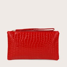 Croc Embossed Purse With Wristlet