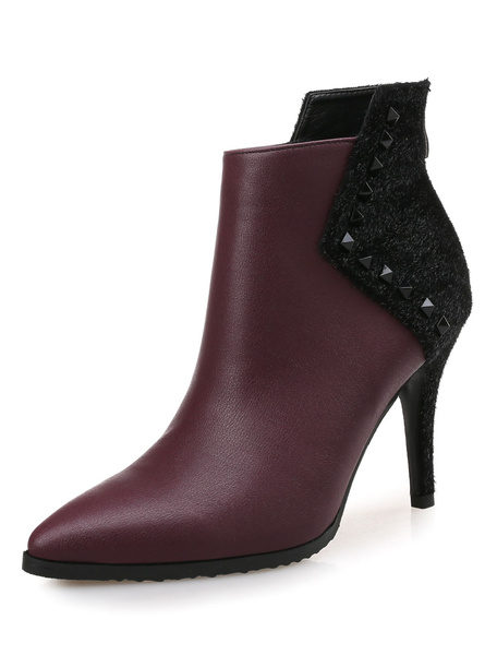 Milanoo Burgundy Ankle Boots High Heel Pointed Toe Rivets Stiletto Heel Booties