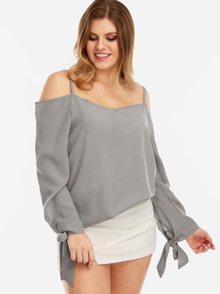 Yoins Plus Size Grey Self-tie Cold Shoulder Blouses