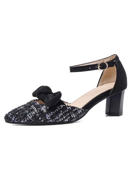 Milanoo Zapatos de tacon medio bajo para mujer Tacon de dos piezas con punta en punta Bombas blancas con lazo