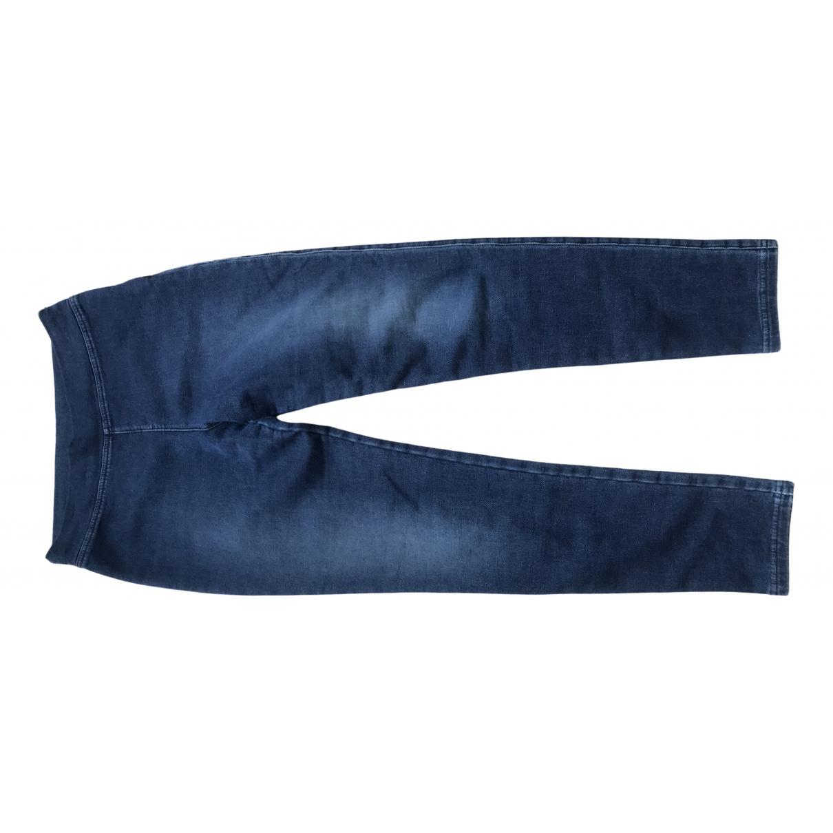 Ermanno Scervino \N Blue Cotton Trousers for Women 46 IT