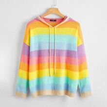 Plus Drawstring Hooded Rainbow Striped Sweater