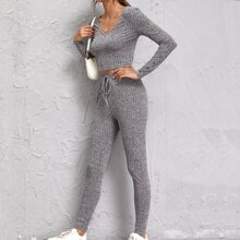 Rib-knit Tee & Knot Waist Legging Set