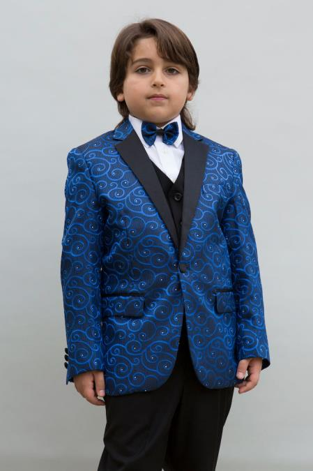 Men's Single Breasted Navy Blue Notch Lapel Boys Blazer Sport coat