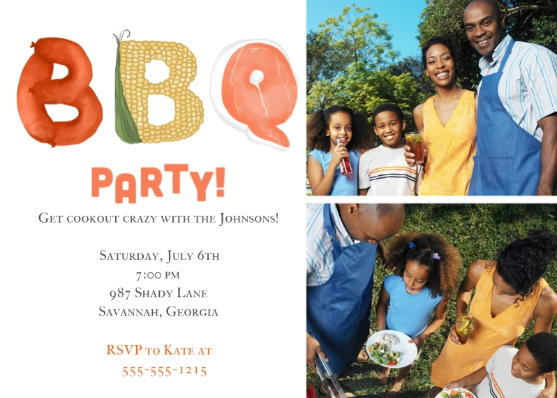 Party Invitations Flat Glossy Photo Paper Cards with Envelopes, 5x7, Card & Stationery -Cookout Crazy