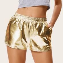 Kate Kasin shorts de color metalico de cintura elastica