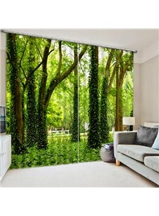 Green Trees Printed Pastoral and Fresh Style Window Decorative Custom 3D Curtain